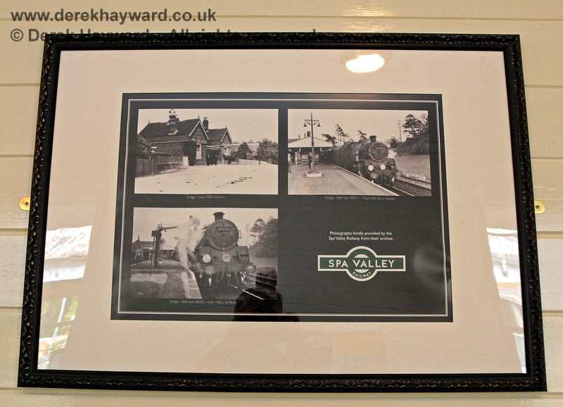 The platform level waiting room has a number of framed prints, in this case showing historic photos of Eridge Station. 29.05.2021 20617.  Unfortunately there was considerable reflection off the glass and it proved very difficult to photograph the prints.