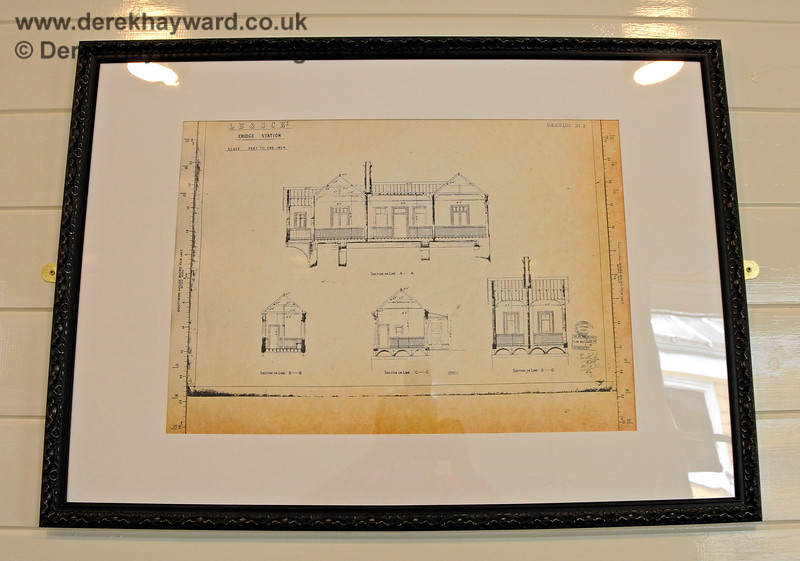 The platform level waiting room has a number of framed prints, in this case showing original plans of Eridge Station. 29.05.2021 20614.  Unfortunately there was considerable reflection off the glass and it proved very difficult to photograph the prints.