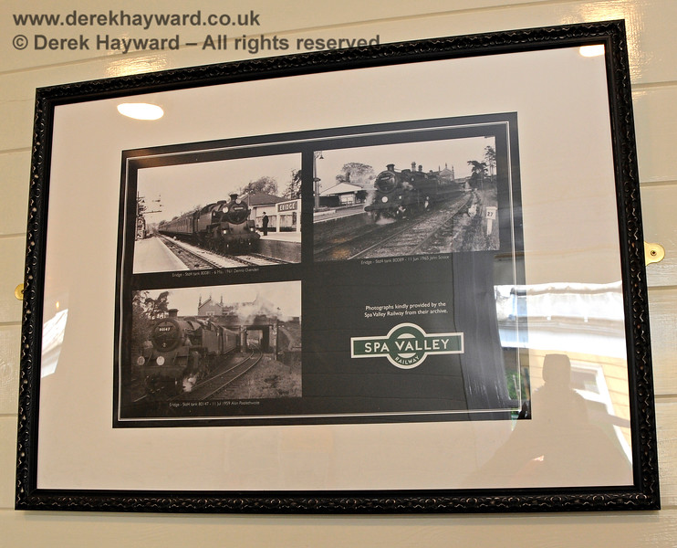 The platform level waiting room has a number of framed prints, in this case showing historic photos of Eridge Station. 29.05.2021 20616.  Unfortunately there was considerable reflection off the glass and it proved very difficult to photograph the prints.