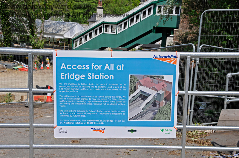 A poster on the worksite at Eridge, where works to install a lift are in progress.  29.05.2021 20594