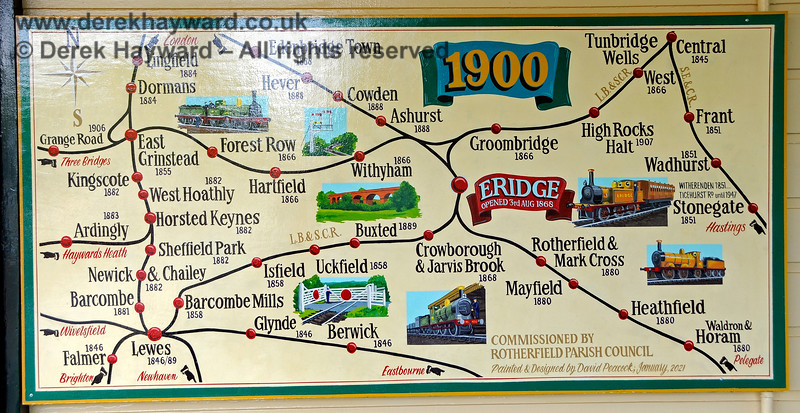 Also affixed to the refurbished Platform 1 building at Eridge is this map, commissioned by Rotherfield Parish Council and intended to show the rail network in 1900.  29.05.2021 20621