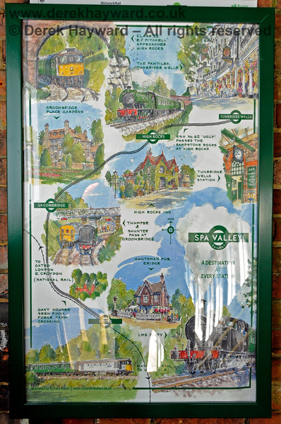 """A Spa Valley Railway poster on their theme of """"A Destination at Every Station"""".  Eridge 29.05.2021 20626"""