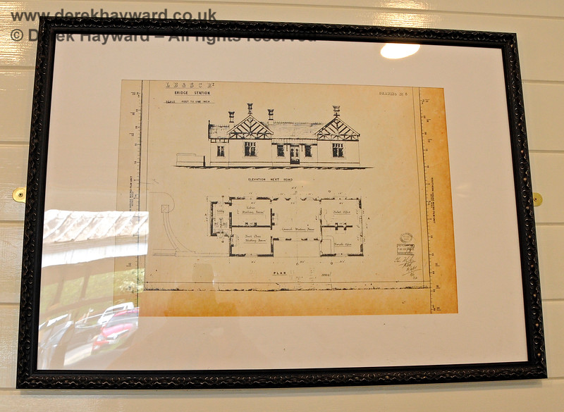 The platform level waiting room has a number of framed prints, in this case showing original plans of Eridge Station. 29.05.2021 20615.  Unfortunately there was considerable reflection off the glass and it proved very difficult to photograph the prints.