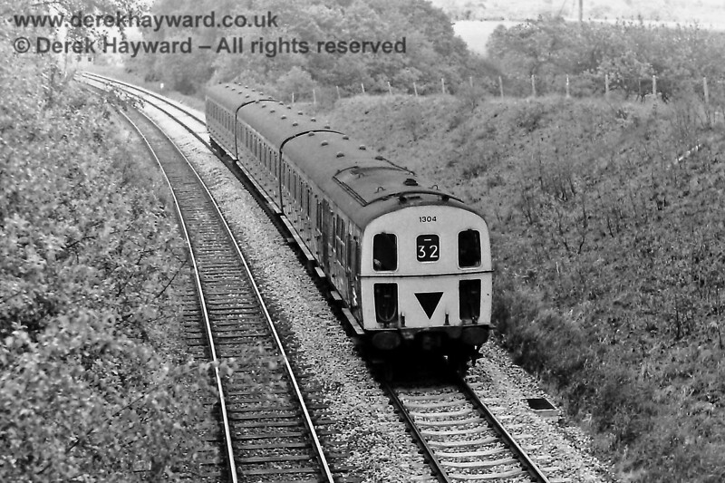 1304 south of Eridge with the 15:58 Tonbridge to Uckfield service.  Sunday 01.06.1975.  Eric Kemp retains all rights to this image.