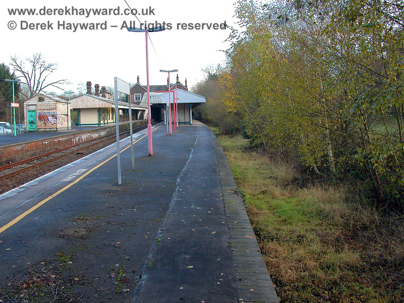The same view of the former platform 1 at Eridge, but taken in 2005.  The undergrowth had been slightly trimmed. There are no known plans to reopen this platform. 07.12.2005