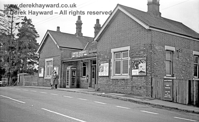 "I am grateful to John Attfield for allowing me to use some of his historical images in this gallery.  The forecourt at Eridge Station, photographed on 30 January  1969.  British Railways were more prescriptive in those days.  The notice says ""No Parking, Car Park in Downside Goods Yard"".  Nowadays parked cars fill the forecourt area.  Although time has moved on the telephone box is still there, as is the post box in the wall.  John Attfield retains all rights to this image."