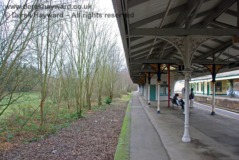 The same picture in 2008, looking north along the former Platform 1. The trees were growing along the line of the former siding. 28.01.2008