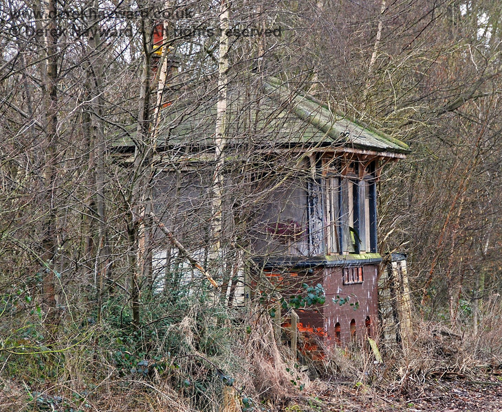 This is the best view of the signal box that could be obtained in 2008 (with a long lens).  The box was then in a very poor state of repair.  Former viewpoints in the old goods yard were obstructed by trees. 28.01.2008