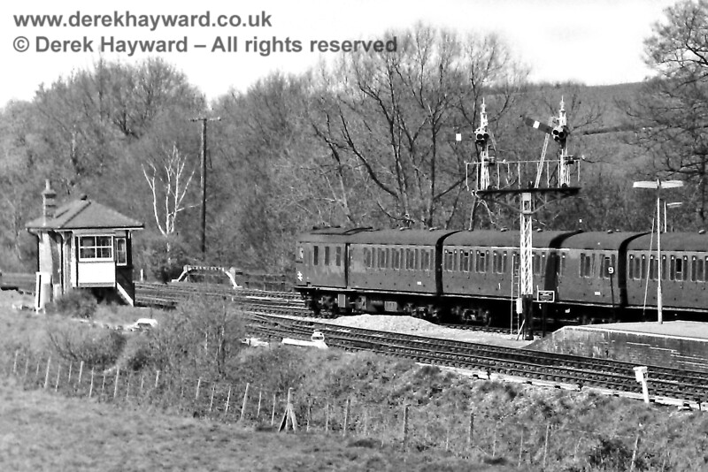 1305 leaves Eridge with the 13:08 Uckfield to Tonbridge service on Sunday 20.04.1975.  Eric Kemp retains all rights to this image.