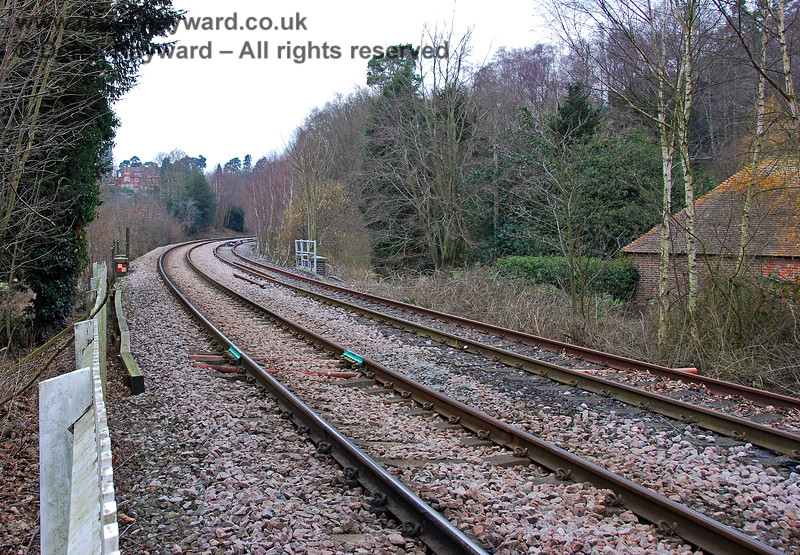 The same view north as the previous picture, taken in 2008. Adjacent foliage has been cut back to improve sight lines.  The Network Rail line is nearest to the camera. 28.01.2008
