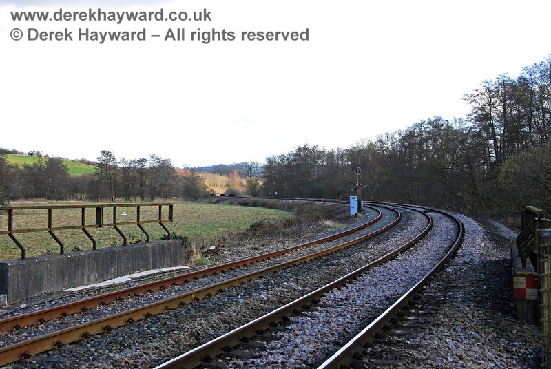 Looking south from Forge Farm Crossing on 02.03.2009, after Network Rail had completed a vast amount of lineside clearance. The view could not be more different.  The restricted sight lines on the curve are replaced by extensive views.