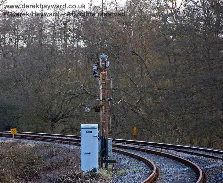 The removal of the undergrowth fully exposed the old signal post for the Eridge Down Distant signal. 02.03.2009