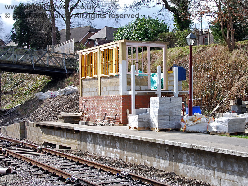 Looking west at the new Groombridge signal box.  It can be seen that both the blockwork and wooden frame were growing steadily. 02.03.2009
