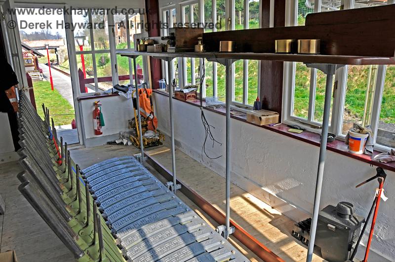 The interior of Groombridge Signal Box with the installation of a lever frame in progress. 27.03.2011 6648