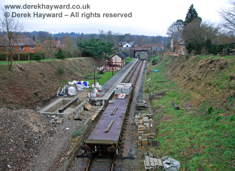 Looking north at Groombridge Station in 2008. Platform works were in progress and a new signal box was being constructed. 28.01.2008