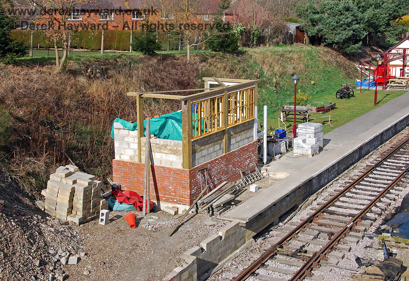By March 2009 the upper structure of  the signal box at Groombridge was beginning to appear. 02.03.2009