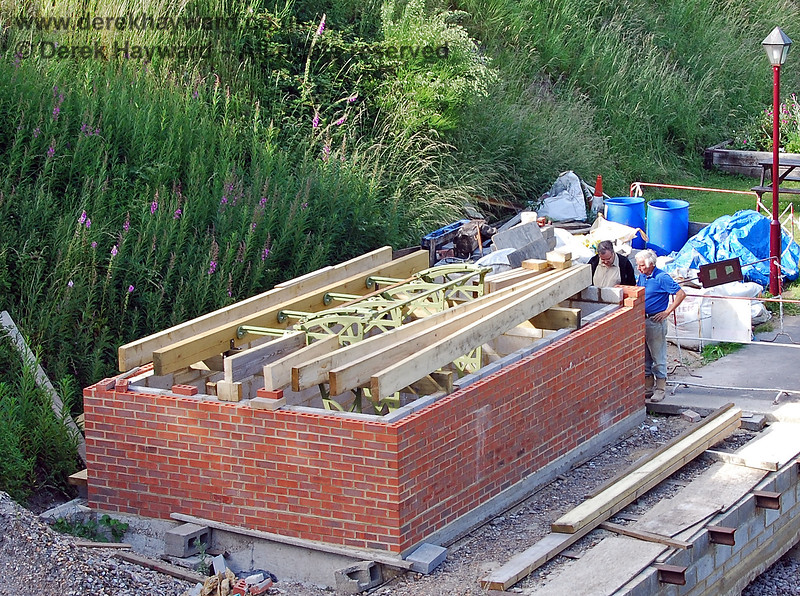 Progress on the construction of the signal box at Groombridge.  Rails have been set into the top of the platform base to support the edging stones.  22.06.2008