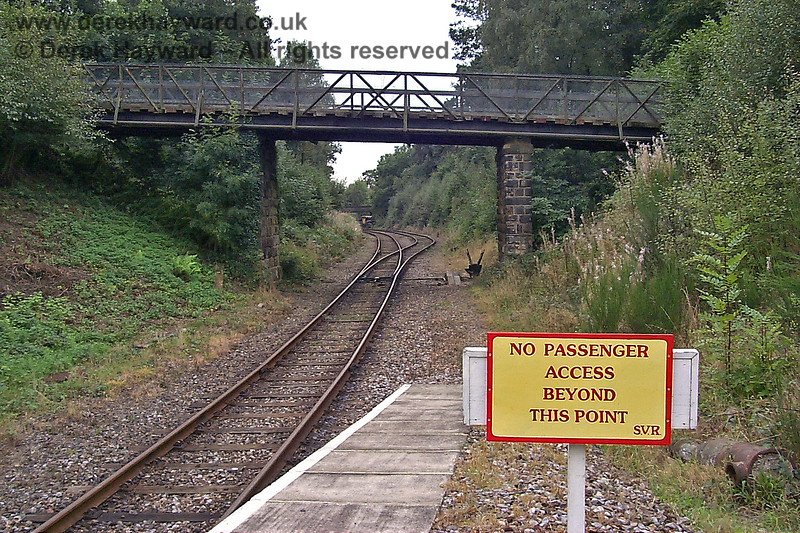The western end of the Groombridge Spa Valley Railway station platform in 1998, looking towards what was then a run round loop for terminating trains.  17.09.1998