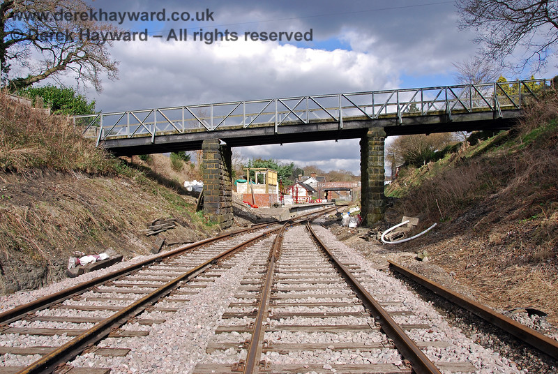 The reverse of the previous picture, looking east back towards Groombridge Station. The modified embankment is on the left. 02.03.2009