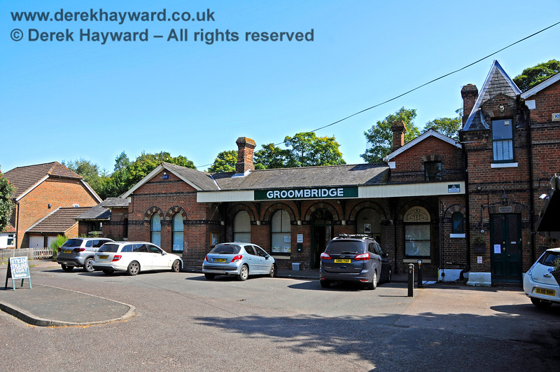 """Groombridge Station pictured in 2019.  The station name now appears above the door and there is a """"Steam Trains Today"""" A-board.  25.08.2019 20089"""