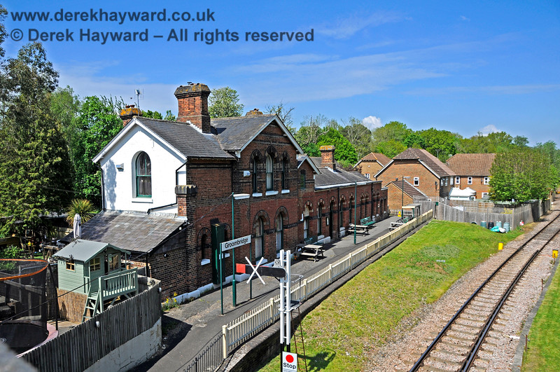 The rear of the Groombridge Station building and part of the old platform face on 29.05.2021.  Some picnic tables had been added and work was in progress to install an eastbound Starting signal.  20672
