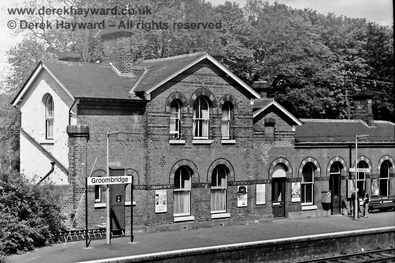 The western end of Groombridge station building, bereft of canopies, pictured on 03.05.1975.  Eric Kemp retains all rights to this image.