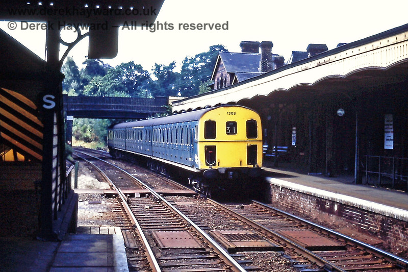 Groombridge on Saturday 18.07.1970 with 1308 on the 11:35 from Eridge. The platforms were staggered and the top of the subway can be seen where it passes beneath the track.  Eric Kemp retains all rights to this image.