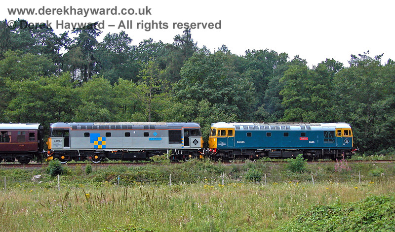 33063 and 33065 waiting to leave Birchden having worked to what was then the end of the line. 05.08.2006