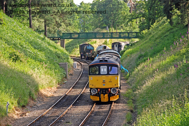 33063 remembers past times by shunting wagons west of Groombridge. 22.06.2008 0201