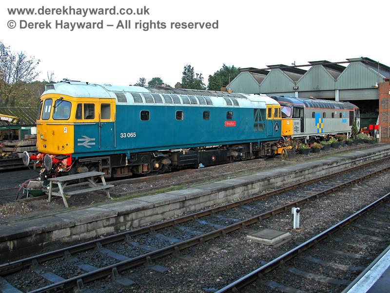 33065 and 33063 outside Tunbridge Wells shed. 29.10.2005