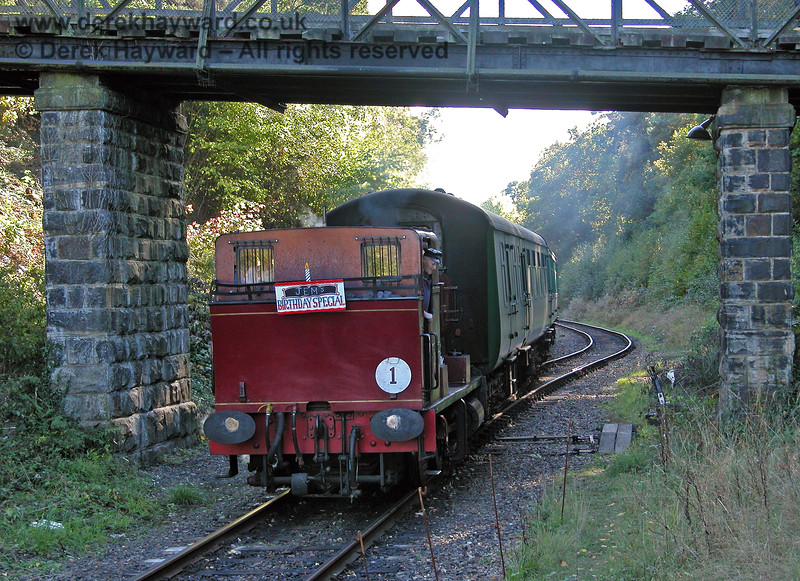 2315 Lady Ingrid hauling a train into the platform at Groombridge. 05.10.2003