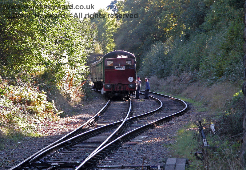2315 Lady Ingrid coupling to it's train after running round at Groombridge. 05.10.2003