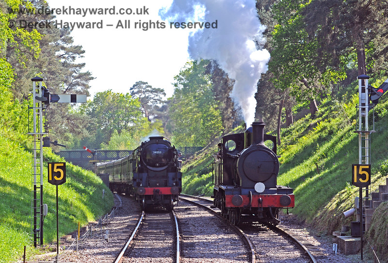 2890 and 34053 in the cutting at Groombridge. 30.05.2021 18152