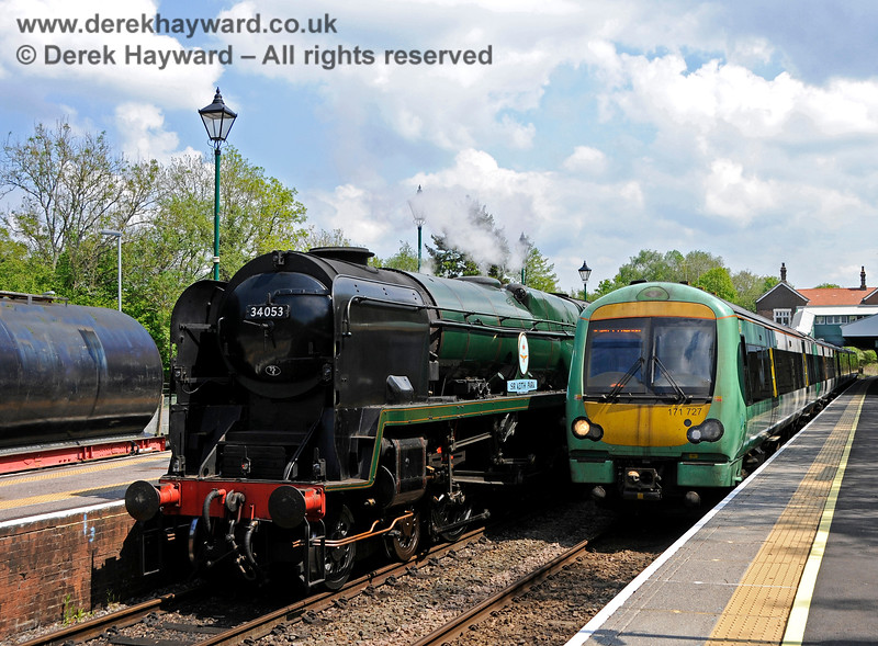 """""""Take the train to the Spa Valley Railway"""".  34053 and 171727 at Eridge. 29.05.2021 20663"""