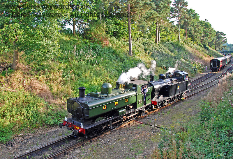7715 (visiting) and 47493 (Jinty) run round a train at Groombridge. 14.09.2008 0119