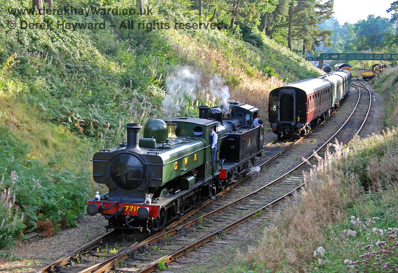 7715 (visiting) and 47493 (Jinty) run round a train at Groombridge. 14.09.2008 0123