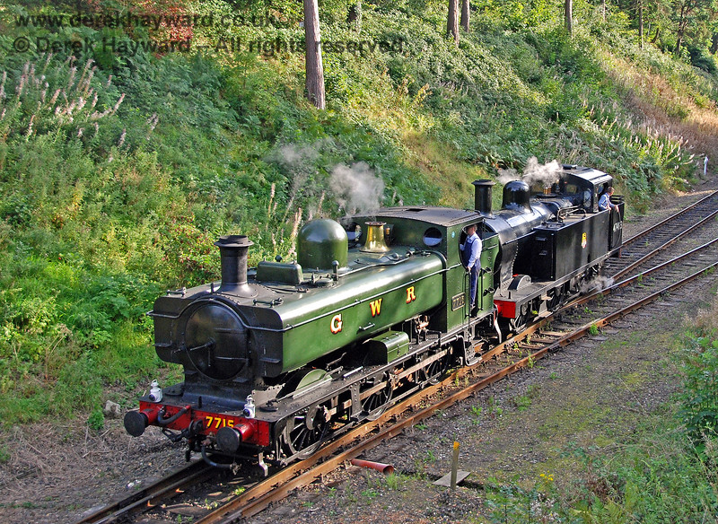 7715 (visiting) and 47493 (Jinty) run round a train at Groombridge. 14.09.2008 0122
