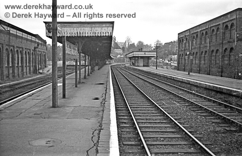 Tunbridge Wells West pictured on 30 January 1969, looking east.  The photograph just catches the side of the engine shed and the two tracks on the left which are now used by the Spa Valley Railway.  Everything else in shot was demolished after closure.  John Attfield retains all rights to this image.