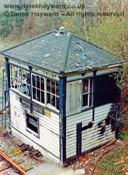 Tunbridge Wells West 'B' Signal Box pictured after closure in 1985.  The smoke blackening from the fire inside the box is quite obvious.  Nick Mander retains all rights to this image.