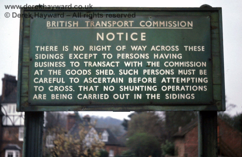 A self-explantory notice at Tunbridge Wells West, photographed in April 1976.  Eric Kemp retains all rights to this image.