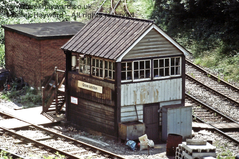 """Grove Junction Signal Box on it's last day as a """"Junction"""" on 06.07.1985.  The box closed on 20 April 1986.  Eric Kemp retains all rights to this image."""