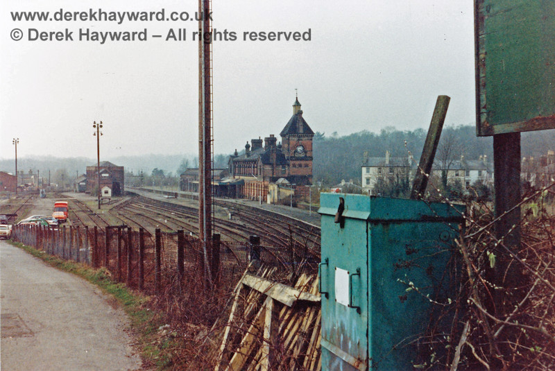 Tunbridge Wells West Station, pictured shortly after closure in 1985.  The dock in the goods yard is being used as a parking area.   Nick Mander retains all rights to this image.