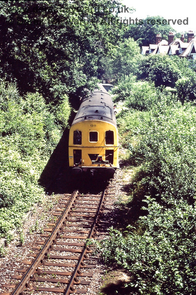 Almost fighting its way through the trees between Grove Junction and Tunbridge Wells West is the 12:20 from Tunbridge Wells Central to Eridge formed by 1311 and 1317.  It is the last day of services on the line, on 06.07.1985.  Eric Kemp retains all rights to this image.