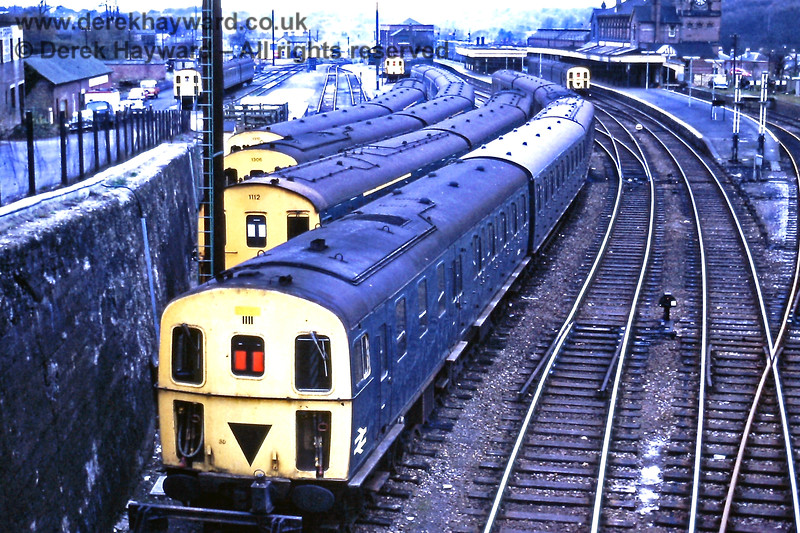 Tunbridge Wells West on 12.11.1972, with a selection of units stabled there (as was normal).  The motor 2nd coach of 3D unit 1307 had been temporarily renumbered and included as part of 3H unit 1111 due to accident damage to the latter.  Eric Kemp retains all rights to this image.