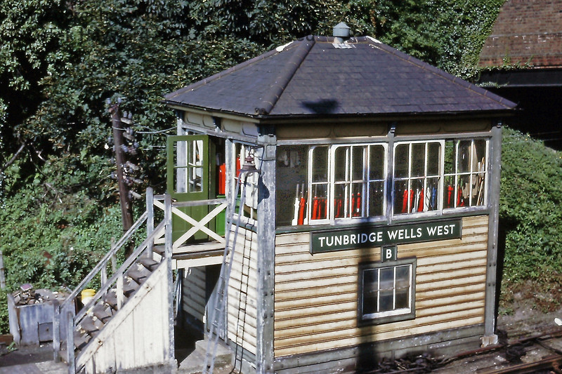 Tunbridge Wells West 'B' Signal Box, pictured in August 1971.  Eric Kemp retains all rights to this image.