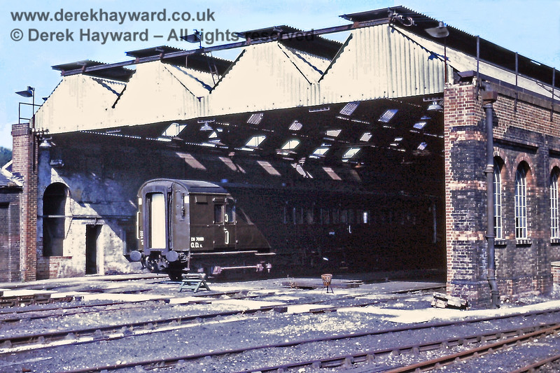 Tunbridge Wells West shed, pictured in August 1971. The coach is Mobile Office DS70159.  The shed (code 75F) closed to steam locomotives in June 1965, but the tracks were used by engineers stock thereafter.  It is now used by the Spa Valley Railway.  Eric Kemp retains all rights to this image.