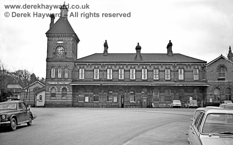 I am grateful to John Attfield for allowing me to use some of his historical images in this gallery. The original Tunbridge Wells West station building photographed on 30 January 1969. After closure in 1985 the building did not remain in railway ownership.  John Attfield retains all rights to this image.