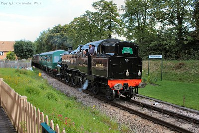 80078 passes through the site of the original station heading for the Spa Valley platform
