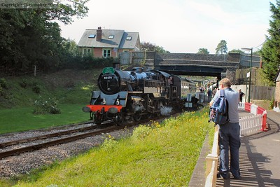 80078 pulls out of Groombridge and heads for High Rocks and Tunbridge Wells