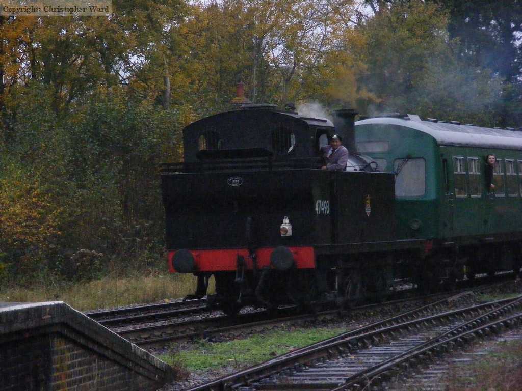 """With the light fading fast, the Jinty brings in the service from Tunbridge Wells West, or """"Westerham"""" as it became for the weekend"""